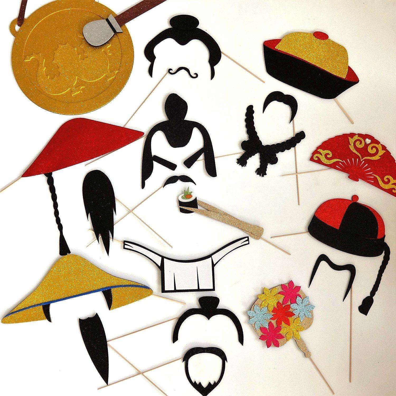 wedding photo booth props printable%0A Amazon com  Oriental Photo Booth Props Samurai war fare  Toys  u     Games