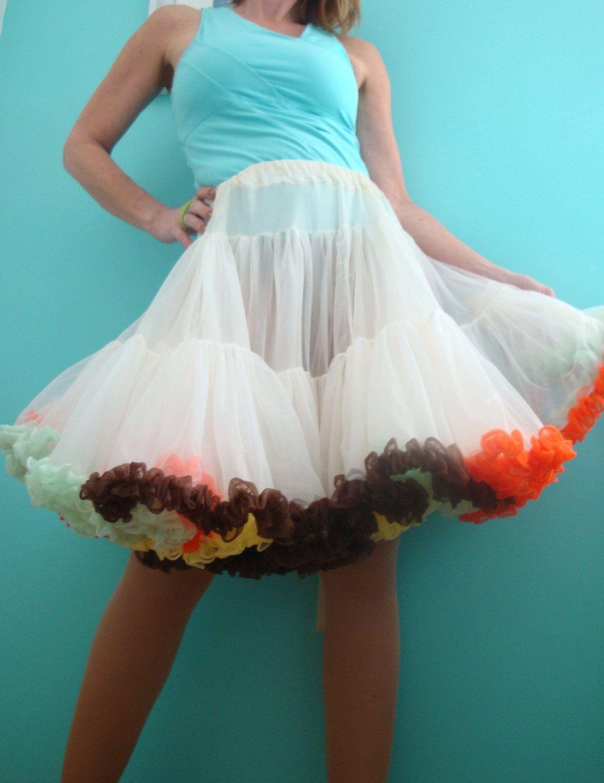 7fbbc82a9e crinoline petticoat | POOFY White Crinoline Petticoat Colorful Tiered  Ruffles. Vintage .