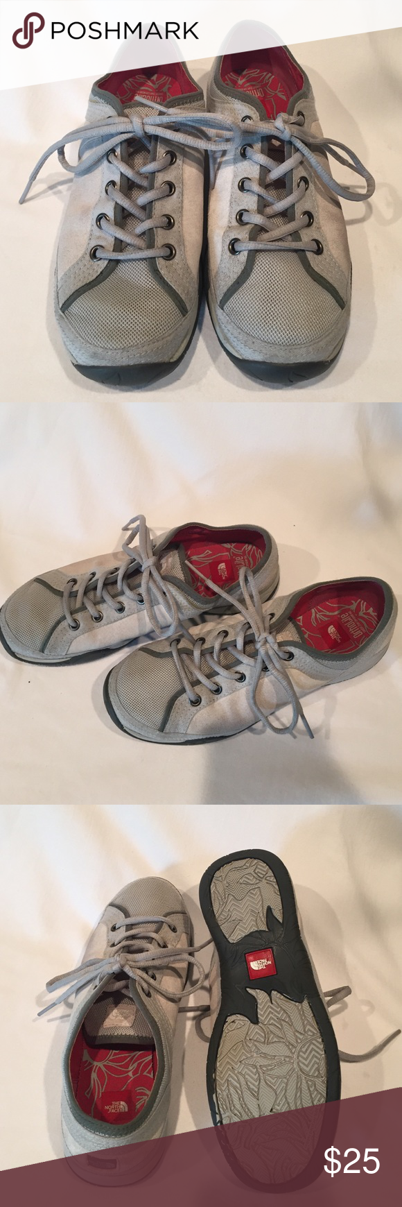 The North Face casual shoes The North Face casual shoes, mesh, suede and fabric. Light grey in color. Slightly used. Shows minimal wear. The North Face Shoes Sneakers