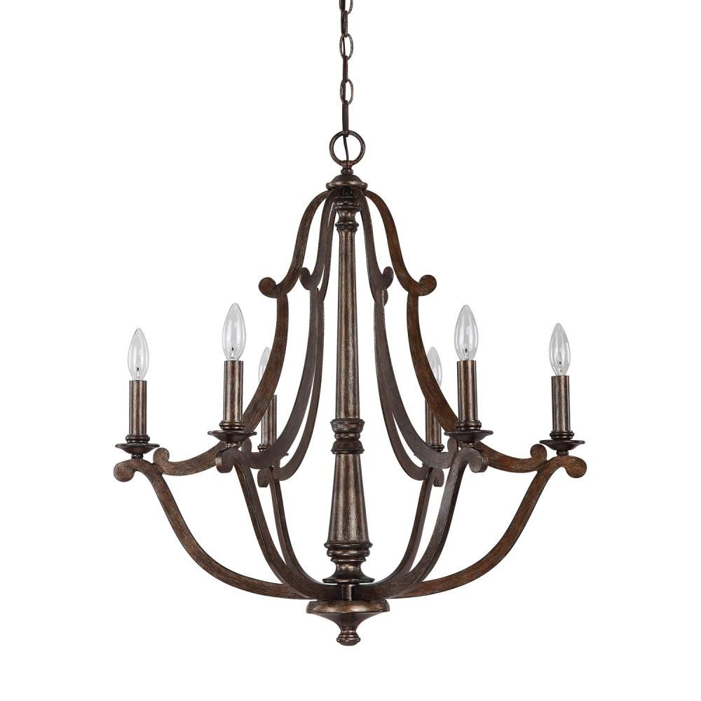 Six Light Rustic Up Chandelier Tpfl