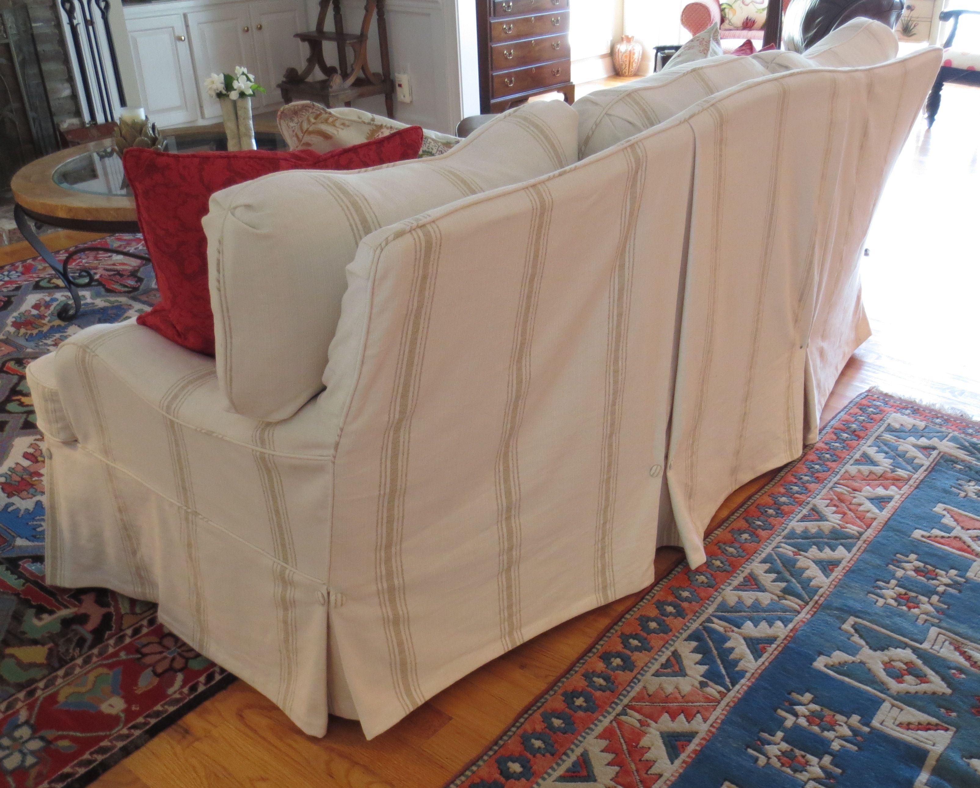 slipcovered sofa back detail fabric furniture