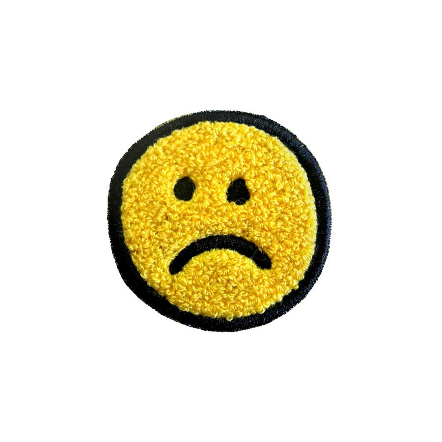 Image of Frown Face Chenille Patch Patches, Chenille