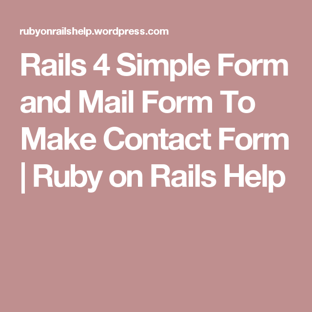 Rails  Simple Form And Mail Form To Make Contact Form
