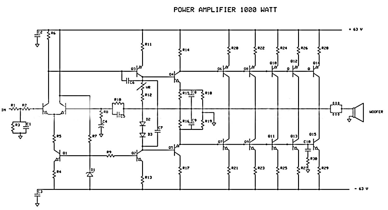 1500w power amplifier circuit and components layout