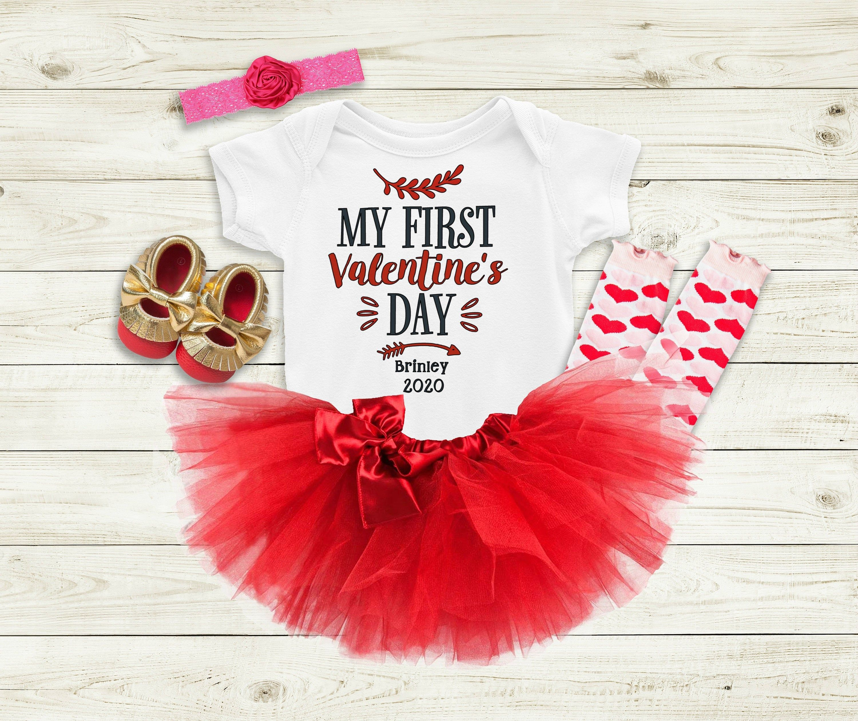 PERSONALISED FIRST VALENTINES RED TUTU ROMPER /& Leg Warmers 1st Valentine/'s Day