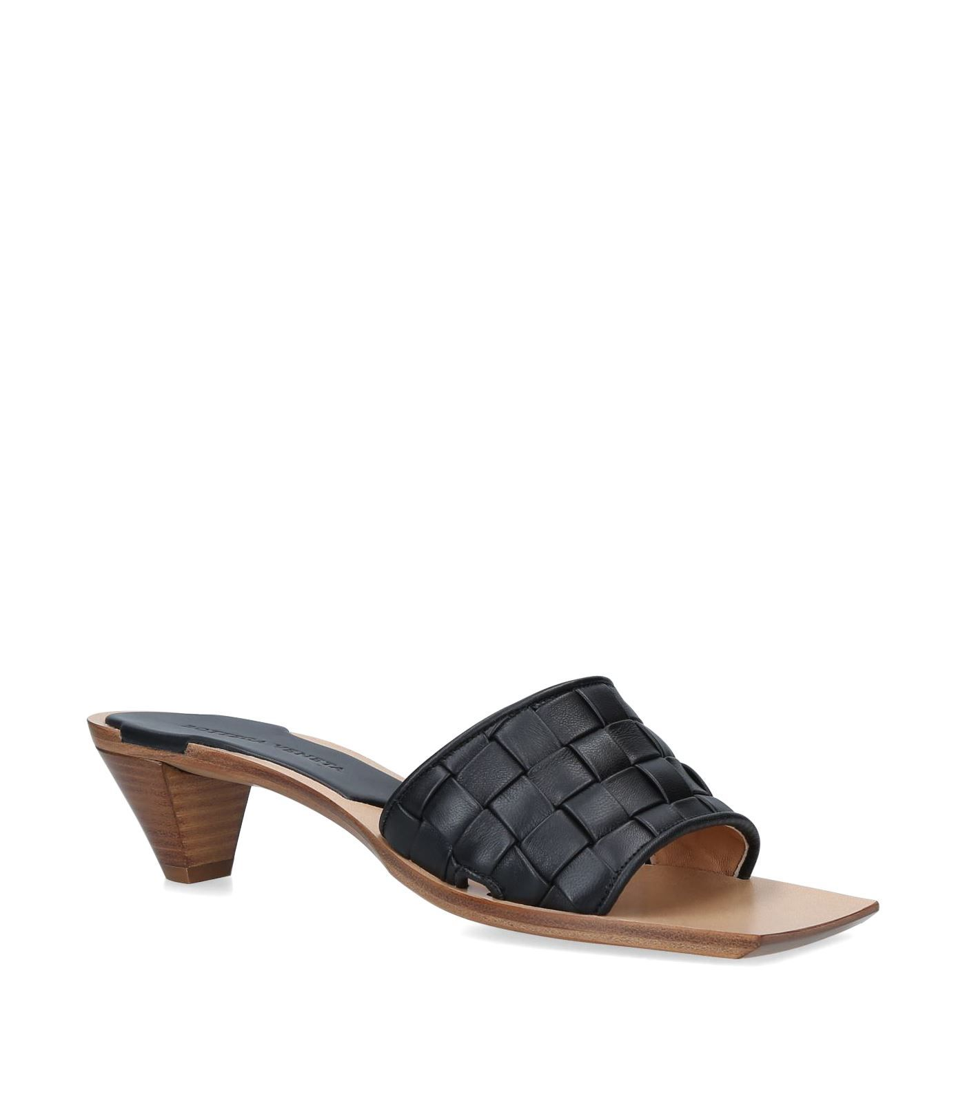 Women S Woven Kitten Heel Slide Sandals In Black Leather Weaving