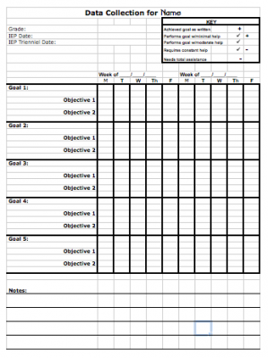 Data Sheet Template To Track Progress Toward Iep Goals From