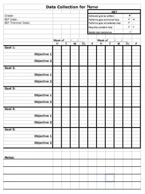 Data Sheet Template To Track Progress Toward Iep Goals  Student