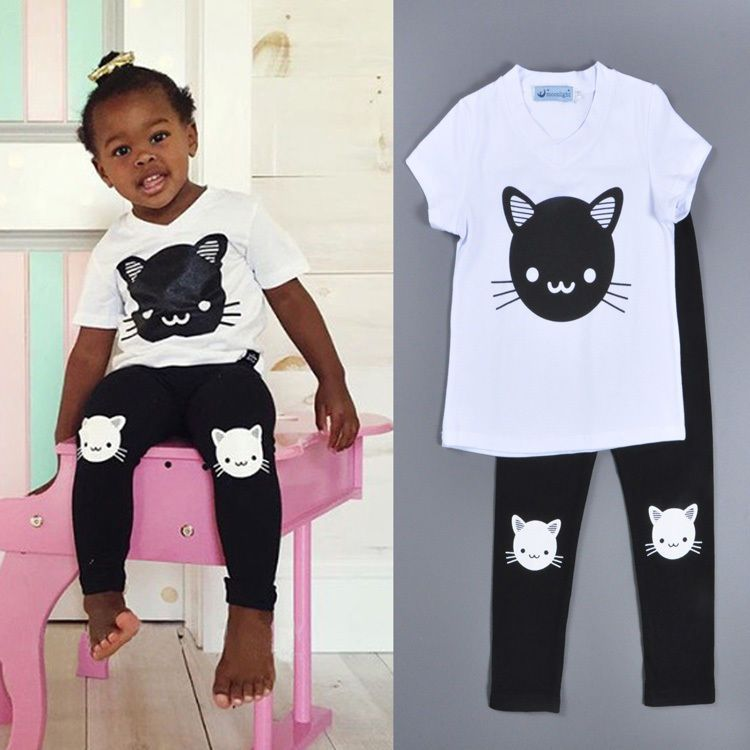 2016 Summer Baby Girls Clothing Set Cartoon Cat Short Sleeve T Shirts Long Pants #New #EverydayHoliday