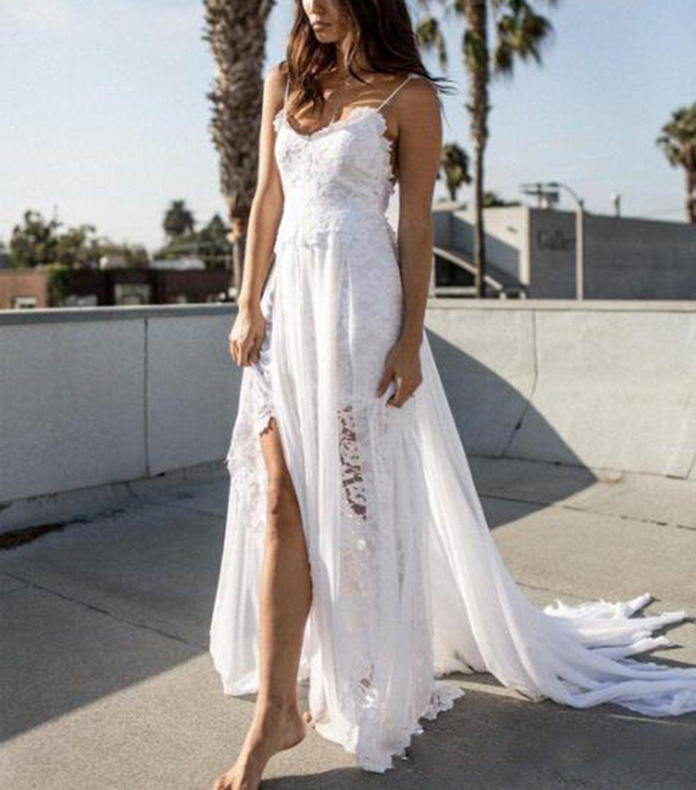 Veilace womens lace beach wedding dress high split chiffon aline