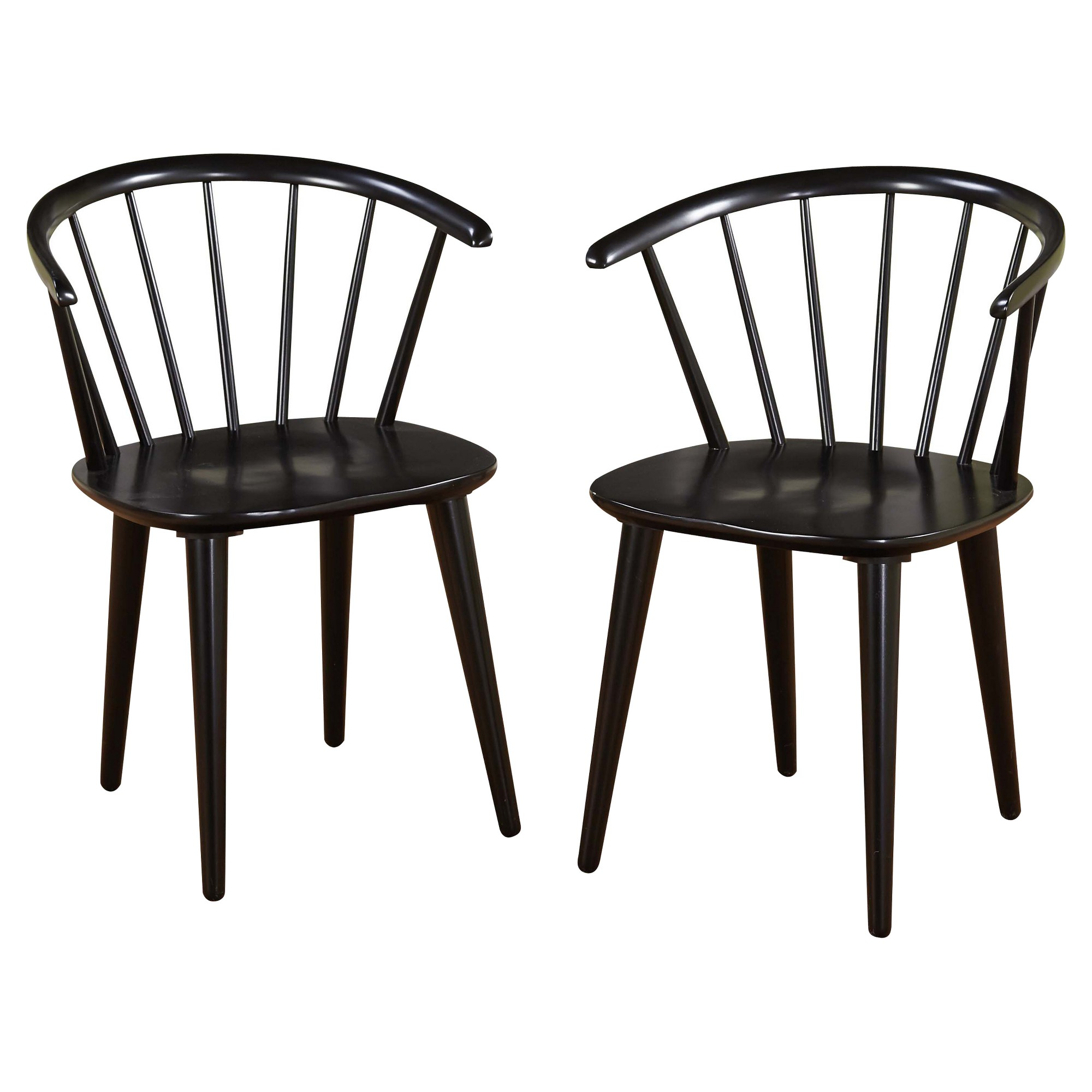 Set Of 2 Dining Chair Wood Black Low Back Dining Chairs Dining