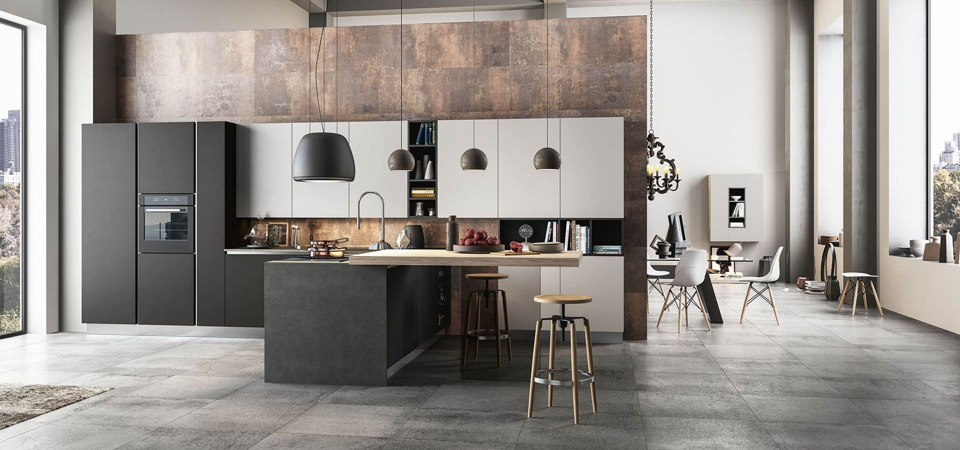 Cucina moderna time finiture nero opaco nebbia opaco top laminato porfido nero piano - Piano snack cucina ...