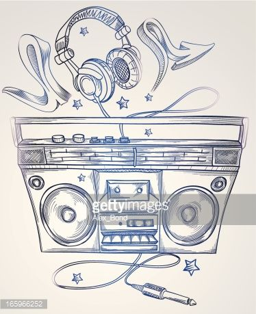 Drawn boombox & headphones : Arte vettoriale | Tattoos ...