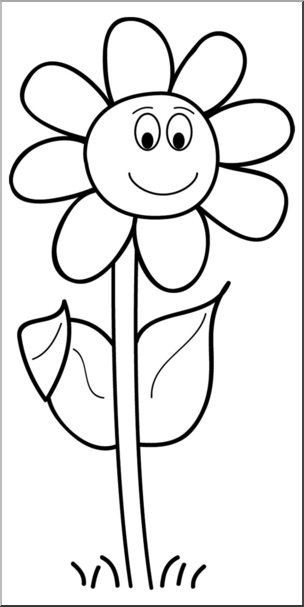 Clip Art Smiling Daisy B W This Cartoon Image Of A Smiling Daisy Can Be Re Sized To Fit Your Needs Cartoon Flowers Black And White Cartoon Flower Drawing