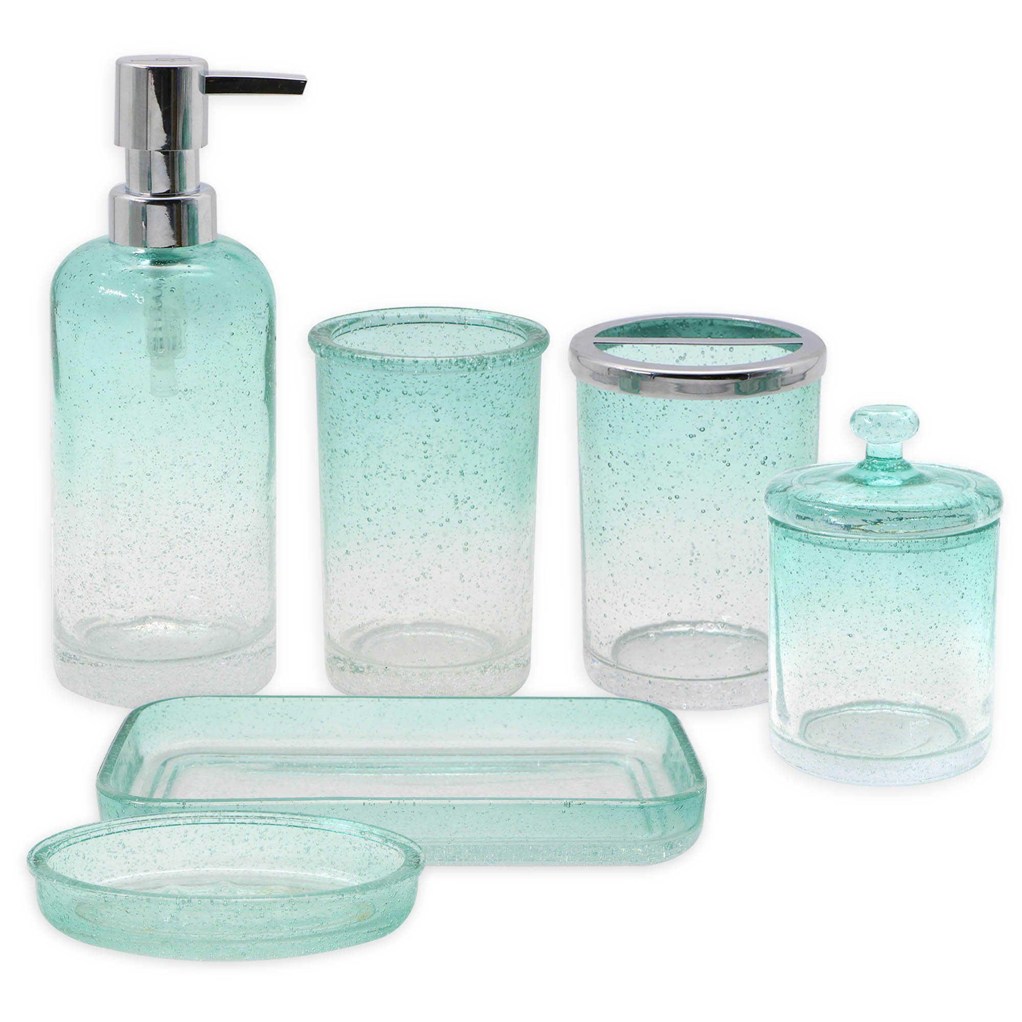 capri bubble glass bath ensemble collection in aqua new place rh pinterest fr