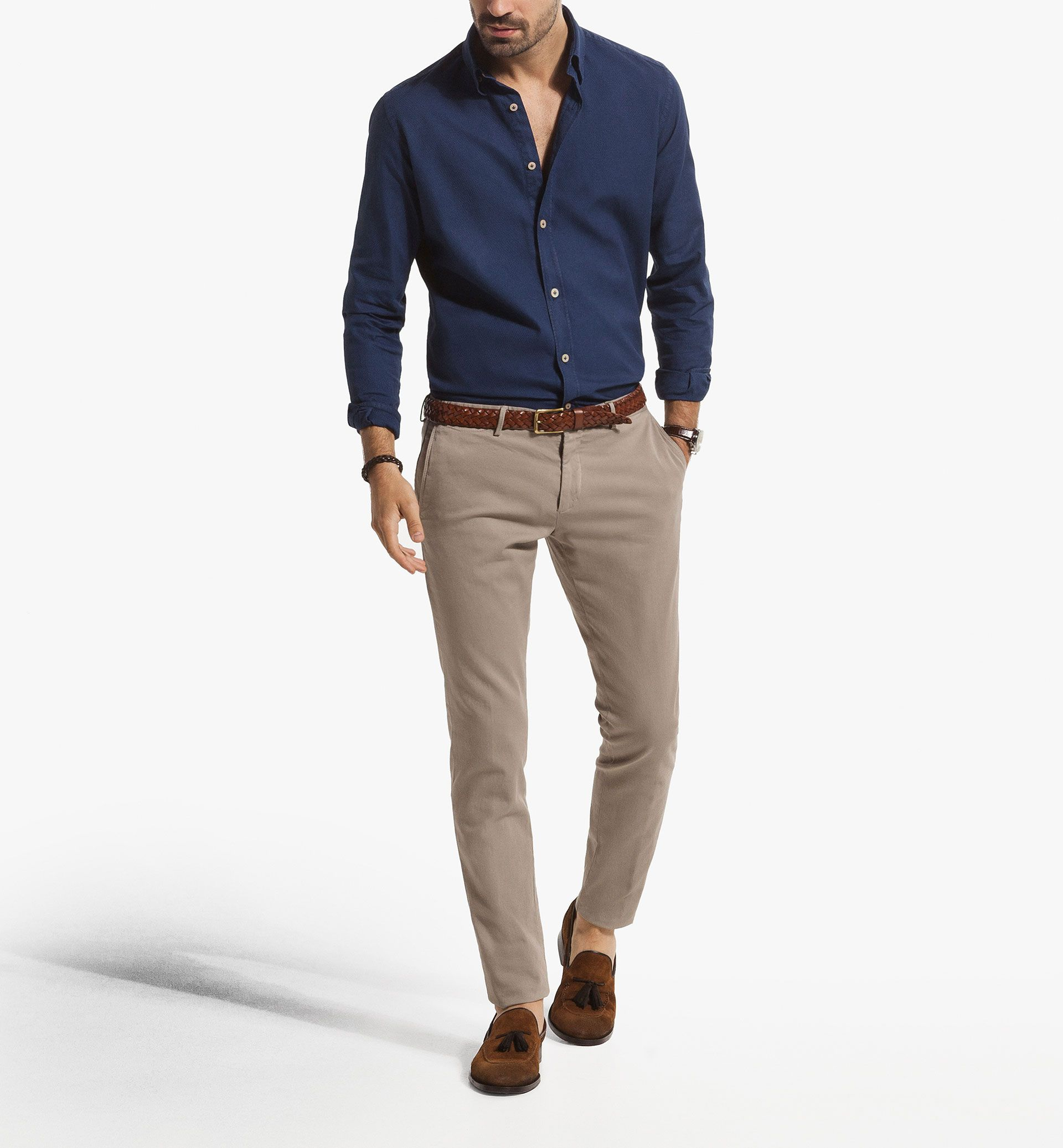 Pantalon beige MD chemise bleue   kamal en 2019   Mens ...