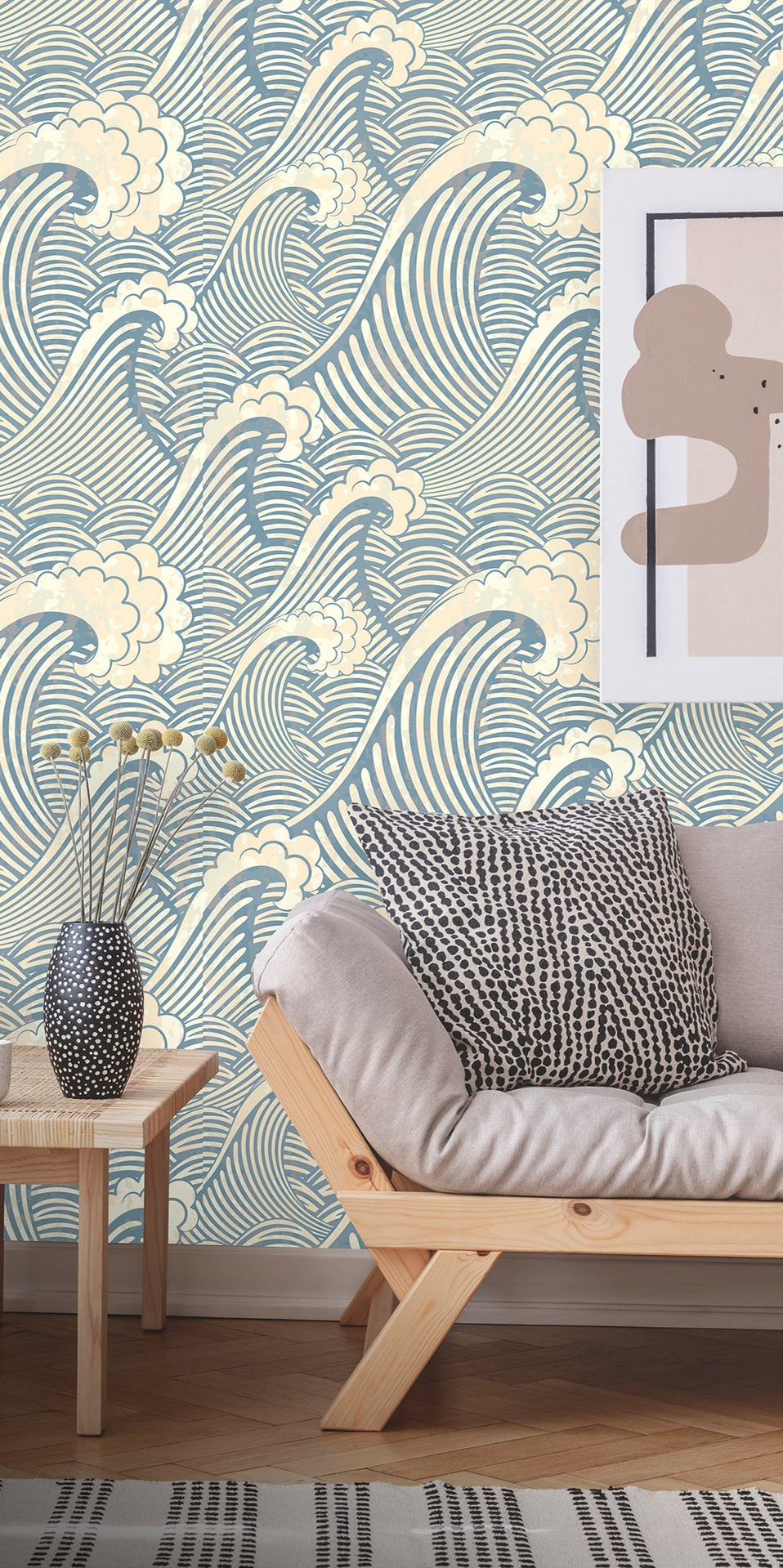 Removable Wallpaper Peel and Stick Great Wave Pattern