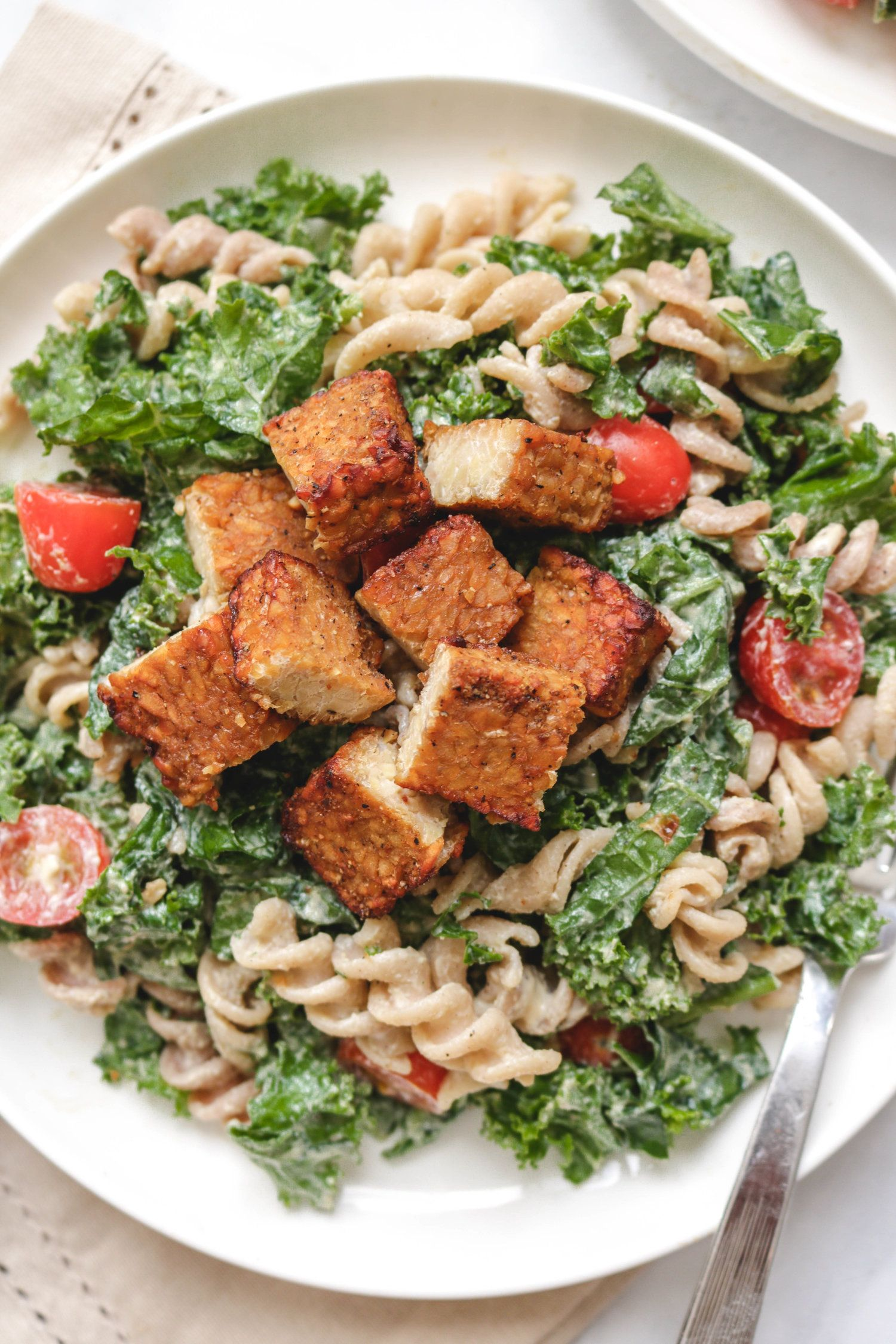 Kale Miso Caesar Pasta Salad With Smoky Tempeh
