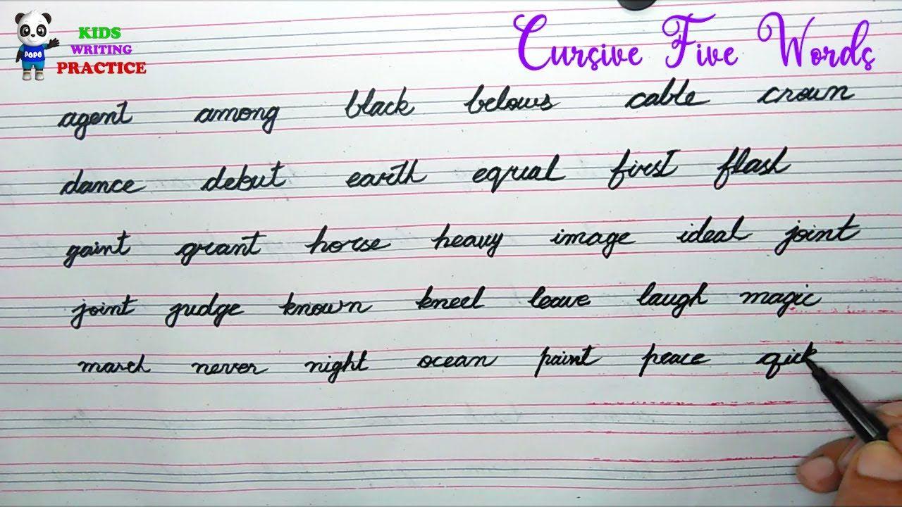 Cursive Writing Five Letter Words Cursive Handwriting Practice Kids Cursive Handwriting Practice Writing Practice Cursive Writing [ 720 x 1280 Pixel ]