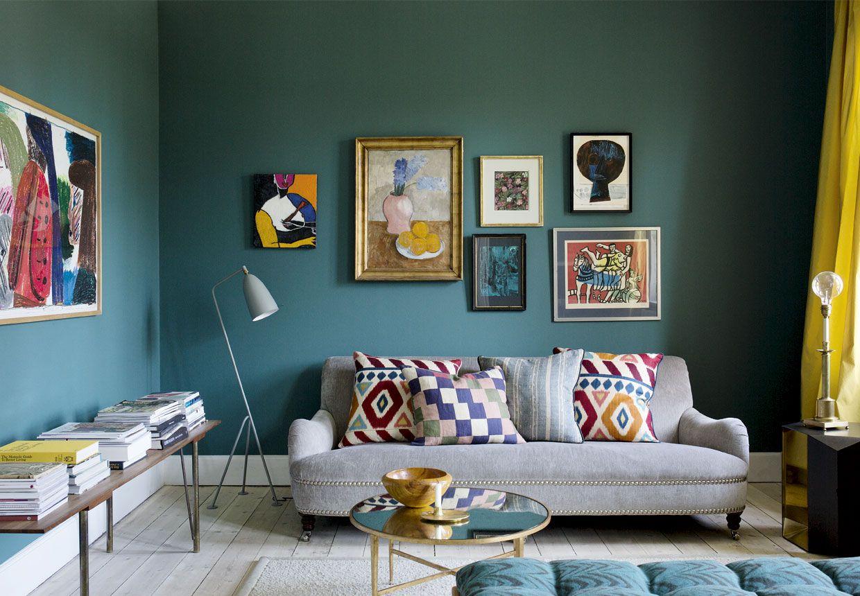 scandinavian apartment teal walls gray sofa bedroom living rh pinterest com