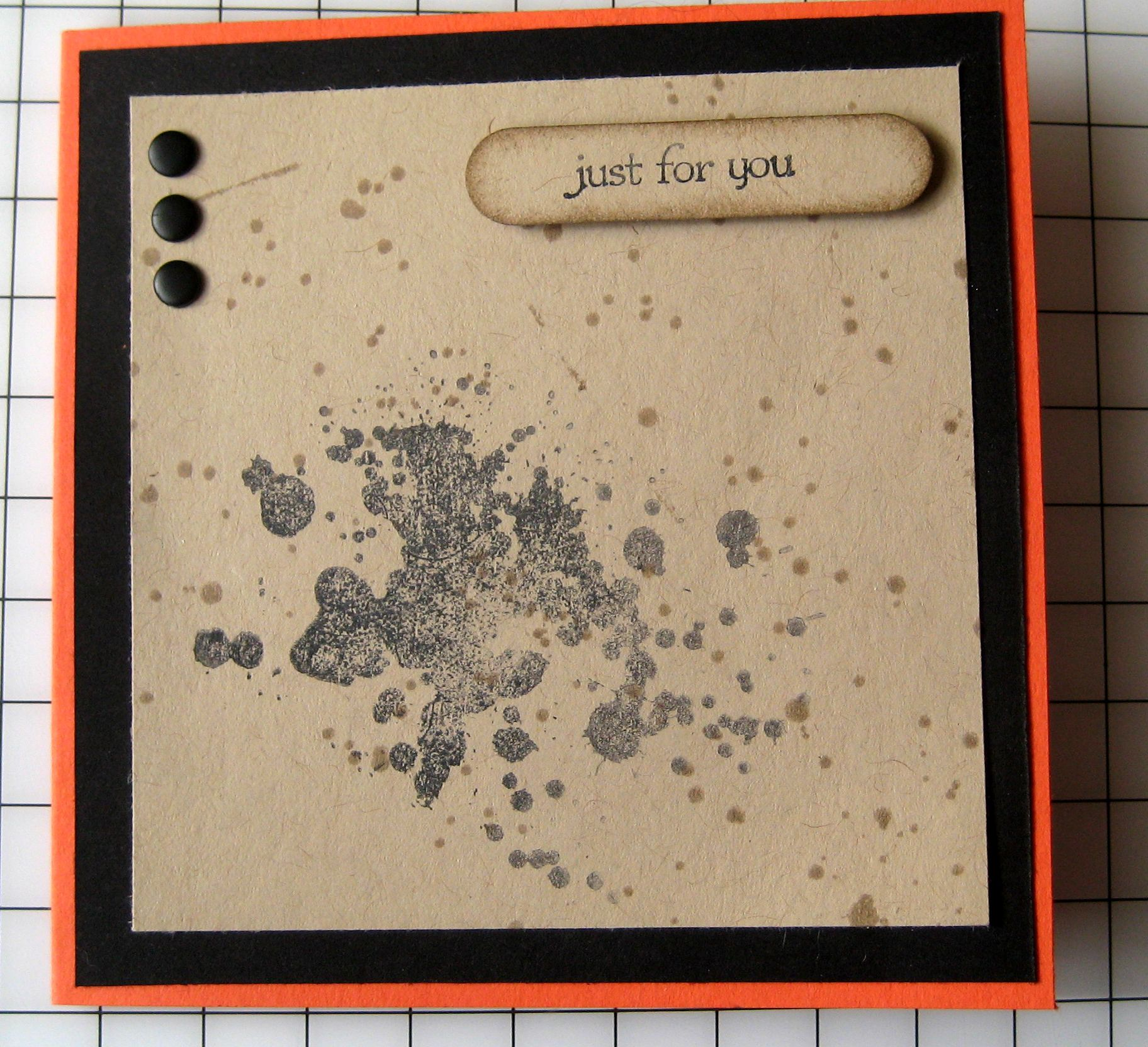 Card for the boys - Gorgeous Grunge with Crumb Cake, Tangerine Tango and Basic Black.