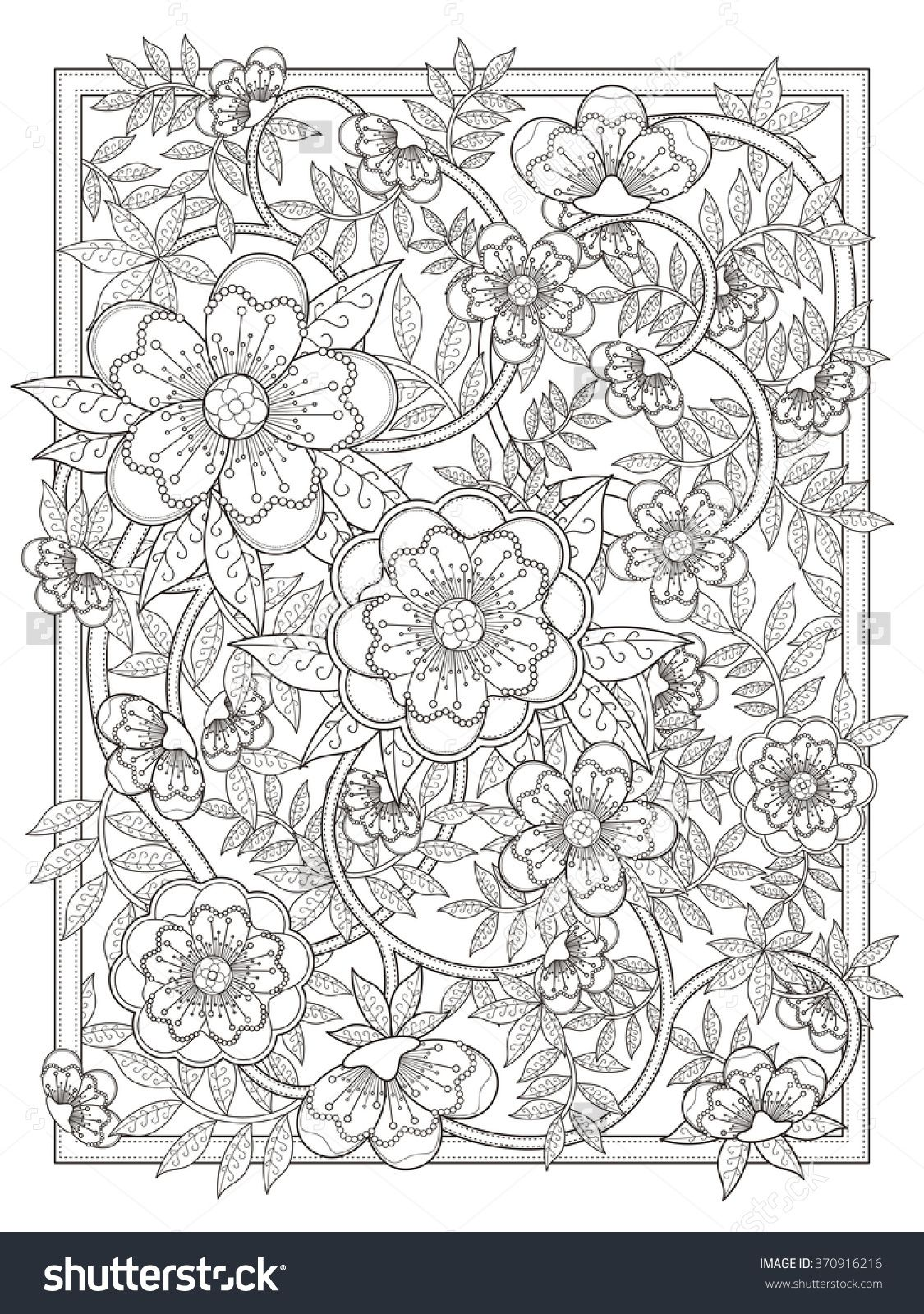 Retro And Elegant Floral Coloring Page In Exquisite Line Coloring Pages Coloring Books Mandala Coloring Pages