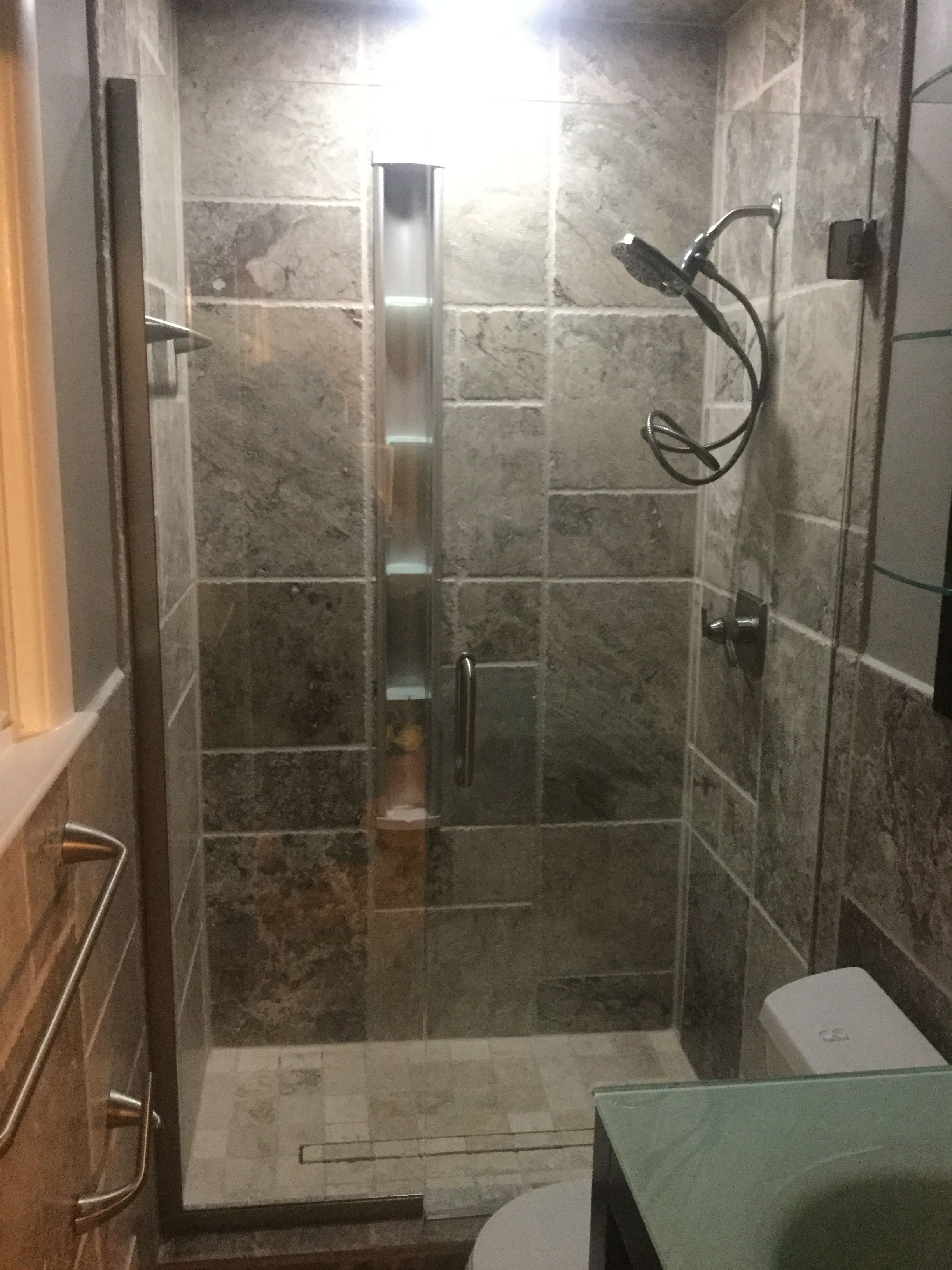 Built In Shower Shelf Travertine Tile