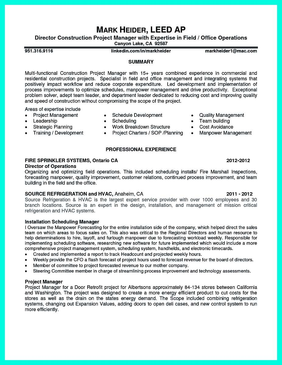 Awesome Perfect Construction Manager Resume To Get Approved Project Manager Resume Resume Examples Professional Resume Examples