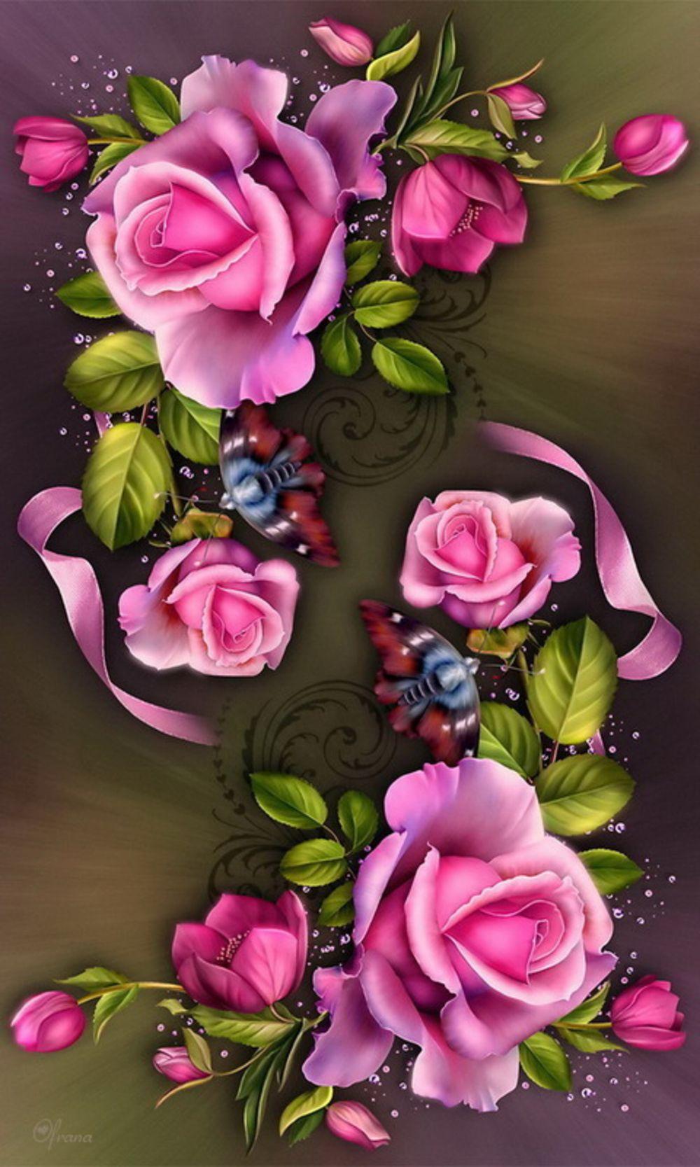 Картинки по запросу обои с розами и бабочками на рабочий ...
