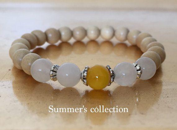 Yellow Agate Yoga Bracelet Wood Wrist Mala by BeautifulShades