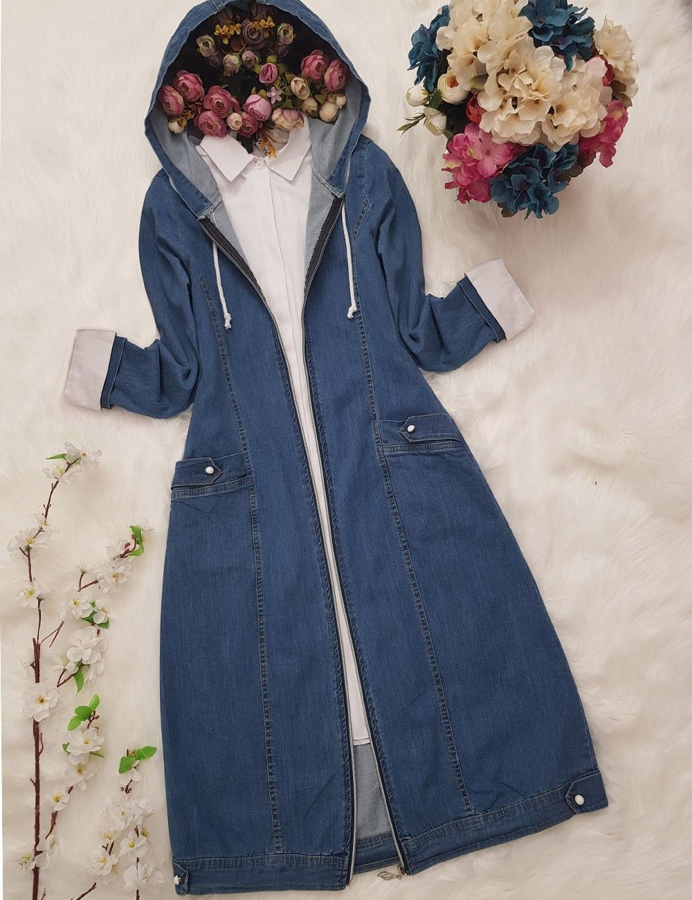 Fermuarli Kapsonlu Kap Mavi Kapsonlular Kotlar Giyim
