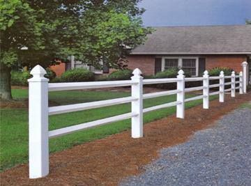 3 Rail Split Rail Fence 3 Rail Split Style Vinyl Fence With Approximate Height Of 48 And Widths Available Up To 96 Vinyl Fence Split Rail Fence Rail Fence