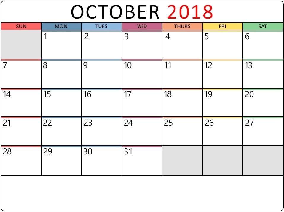 October 2018 Calendar Editable Template October 2018 Calendar