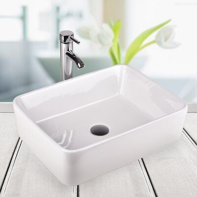 Elecwish Above Counter Ceramic Rectangular Vessel Bathroom Sink with Faucet | Wayfair