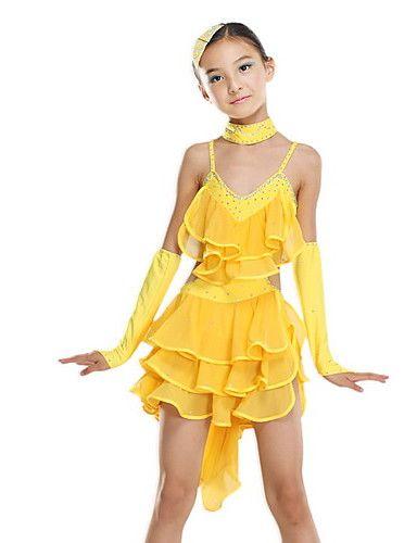 5c3121c25 Kids  Wonderful Crystal Backless Spandex Latin Dance Dress For ...