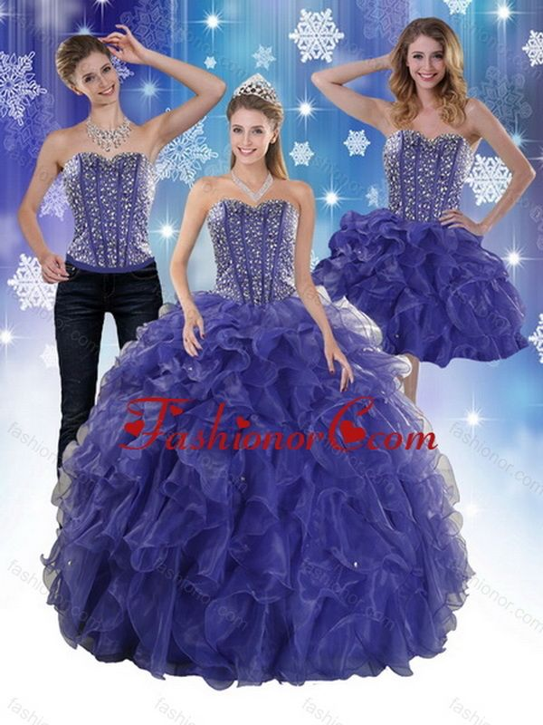 b1d149bd954 The Super Hot Beading and Ruffles Quince Dresses in Royal Bule Dresses