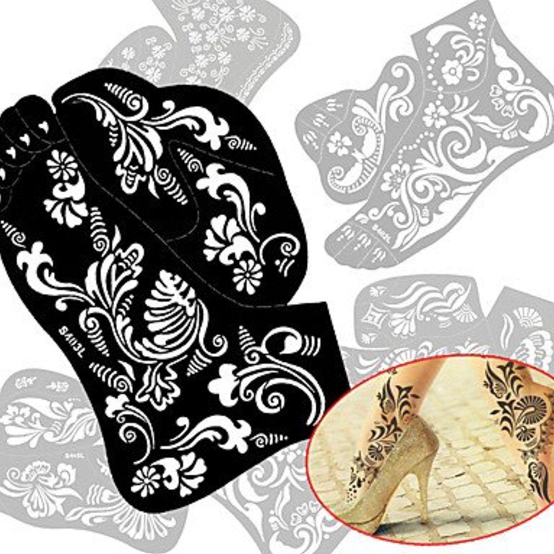 Pcs New Tattoo Foot Tattoo Stencil Henna Tatoo Paste Template