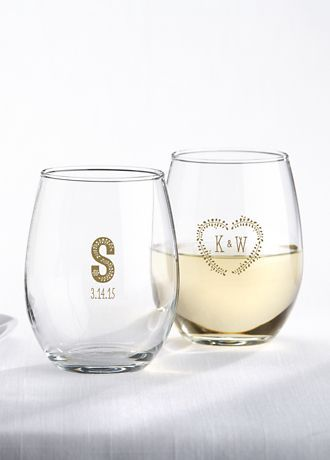 c55dcf036a4 Personalized Rustic Wedding Stemless Wine Glass from Davids Bridal ...