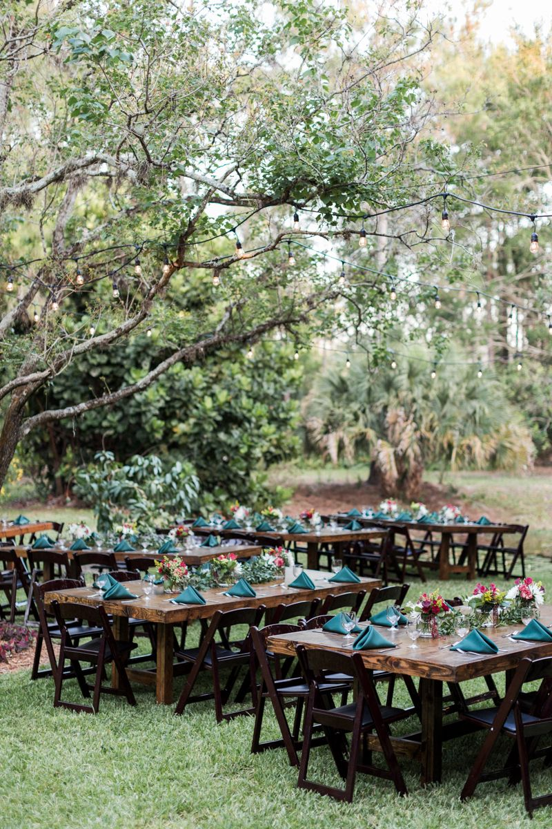 naples florida backyard wedding reception with string cafe lights