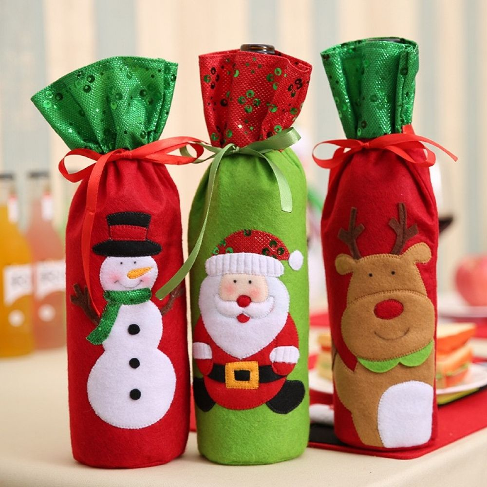 Christmas Home Dinner Party Table Decors Santa Claus Wine Bottle Bags Snowman Gifts Champagne Sequins Holders Vortexmall Christmas Wine Bottles Christmas Wine Bottle Covers Christmas Bags