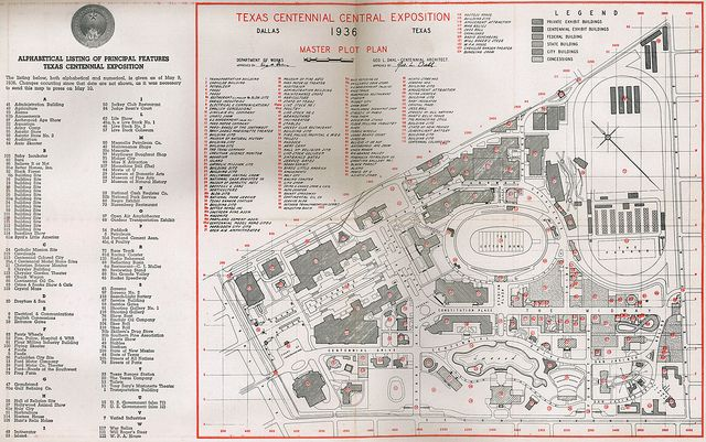 Old 1936 Fair Park Texas Centennial Map Fair Park Pinterest