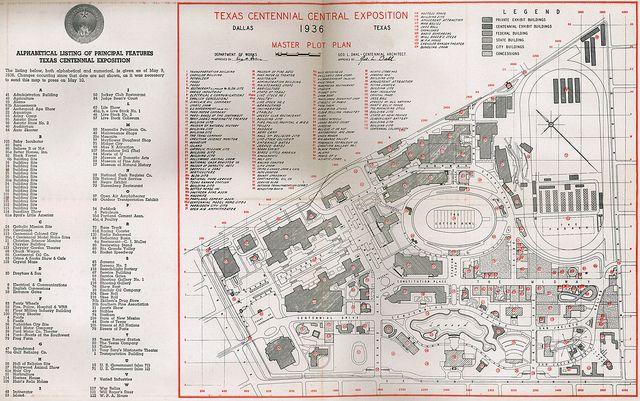 Old 1936 Fair Park Texas Centennial Map Fair Park Pinterest