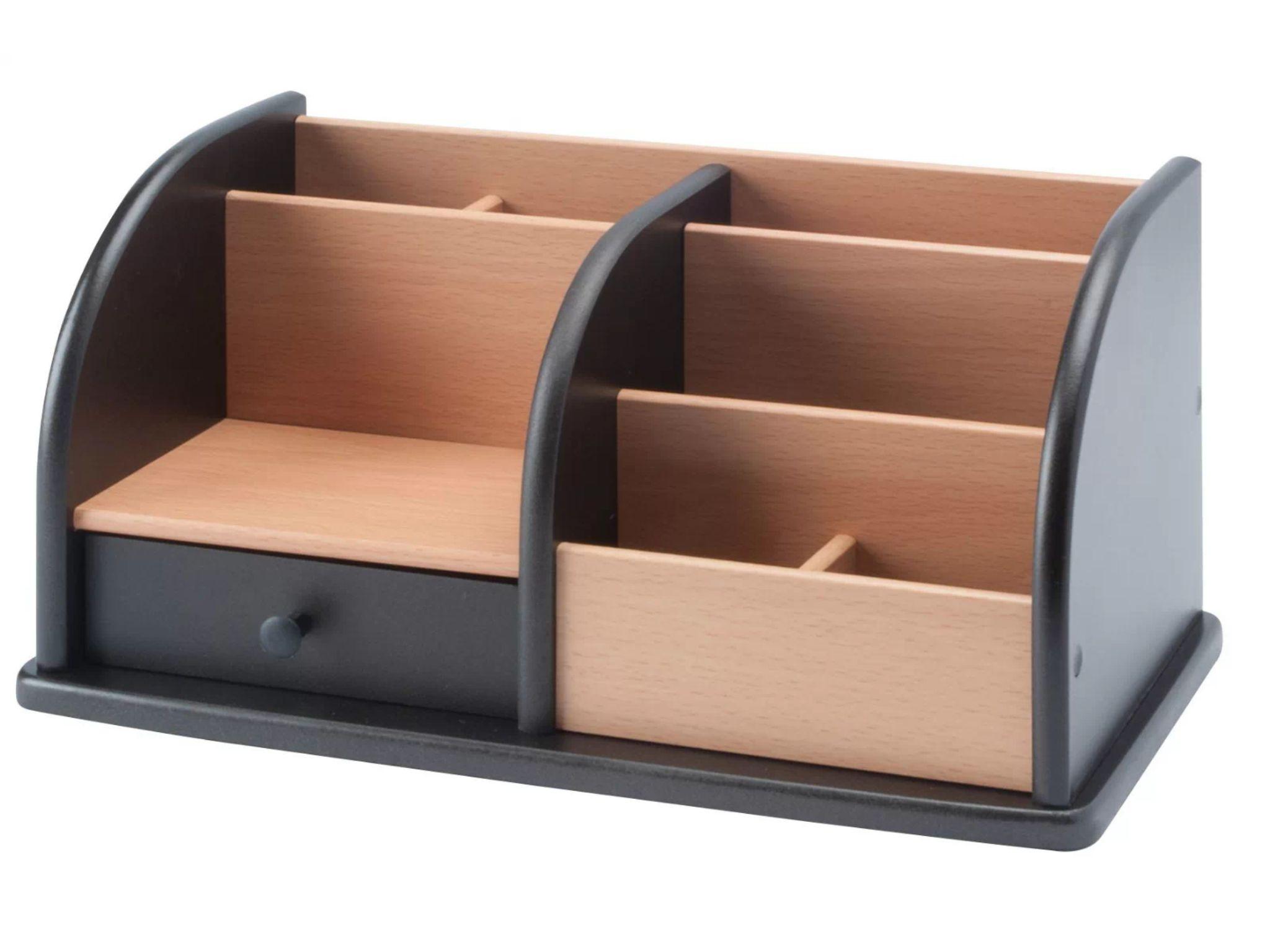 Osco Wooden desk organiser - Black and beech staionary pen storage