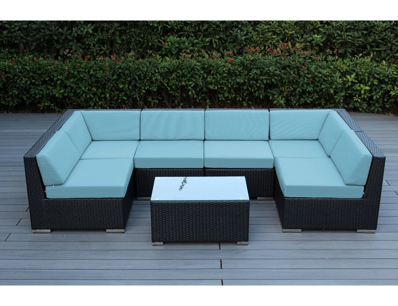 Sunbrella Mineral Blue with Black wicker | Ohana Wicker Furniture | Outdoor Patio Furniture Sets