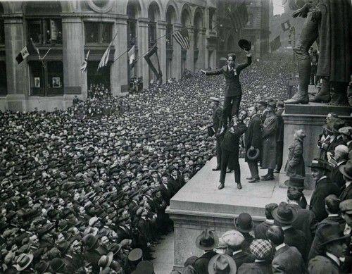 Charlie Chaplin and Douglas Fairbanks on Wall Street selling Liberty Loans. New York, 1918
