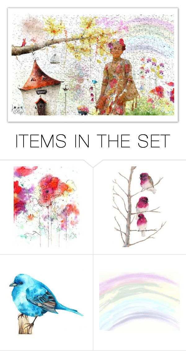 """Springtime aquarelle"" by kiaw-1 ❤ liked on Polyvore featuring art"