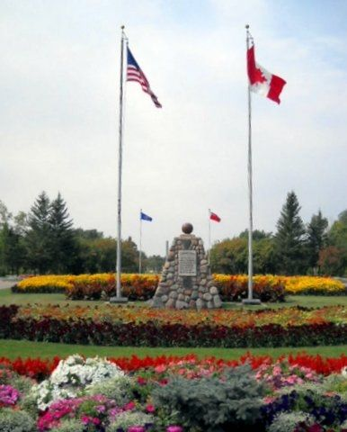 Dunseith, ND - International Peace Garden is a 2,339-acre botanical garden commemorating peace between the U.S. and Canada.