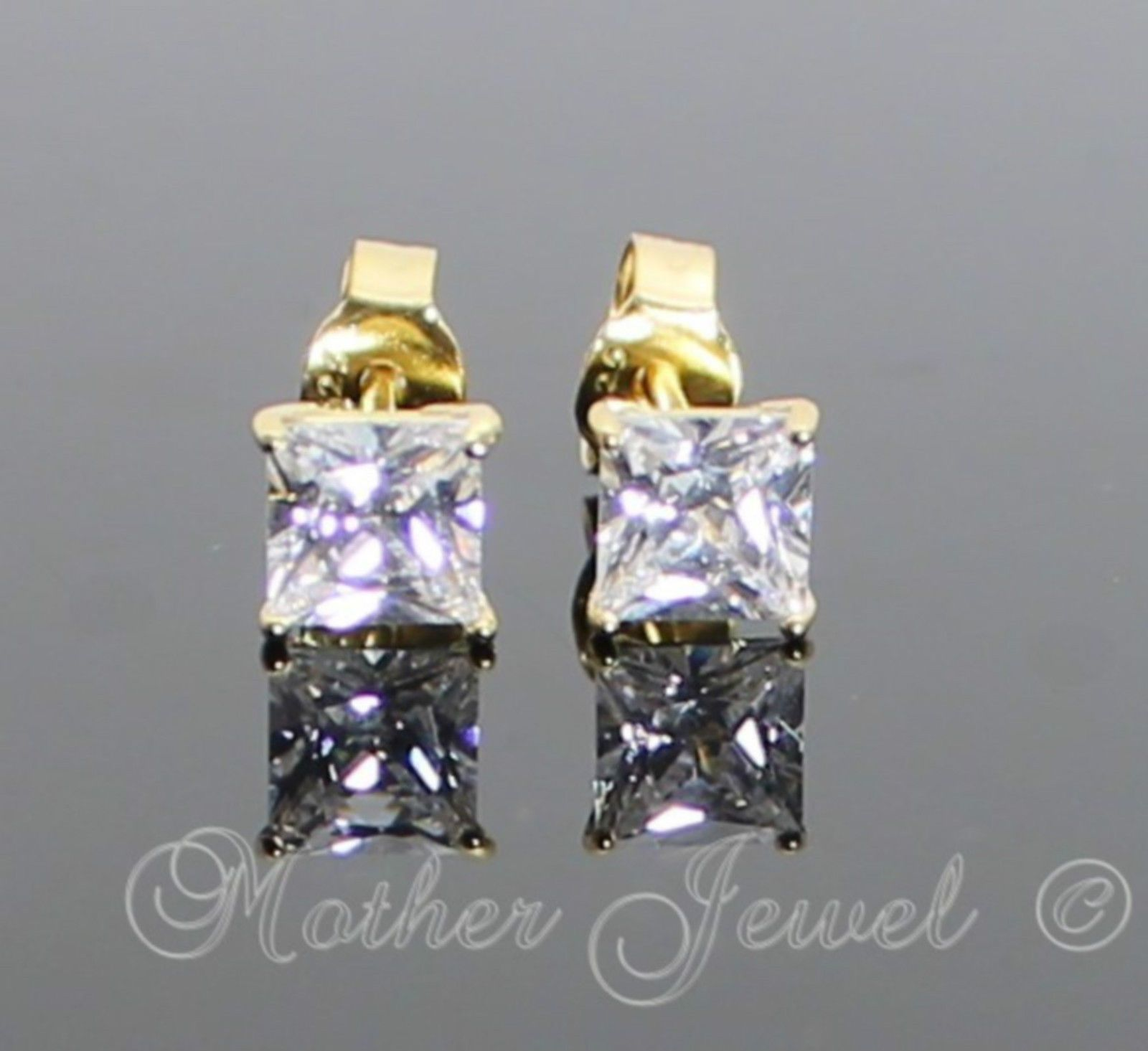 $15 99 AUD 4Mm Square Yellow Gold Solid Sterling Silver Simulated