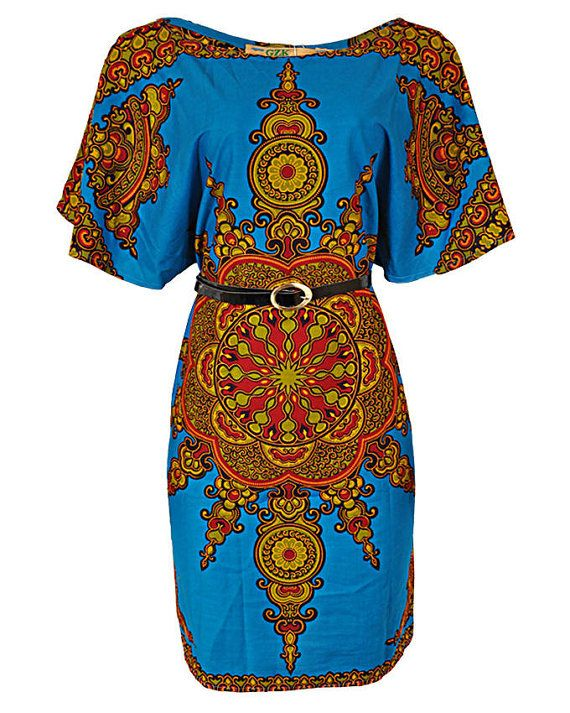 Cotton African print dashiki dress  Belt available on request with extra charge  Please feel free to inbox me for more fabric options or check