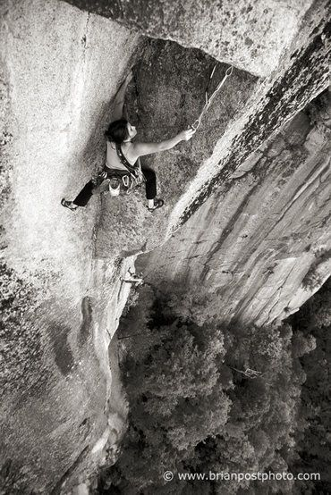 Crux roof pitch of The Prow on Cathedral Ledge, NH (5.11d or 5.8/A1).  Did this pitch on aid back in the day.